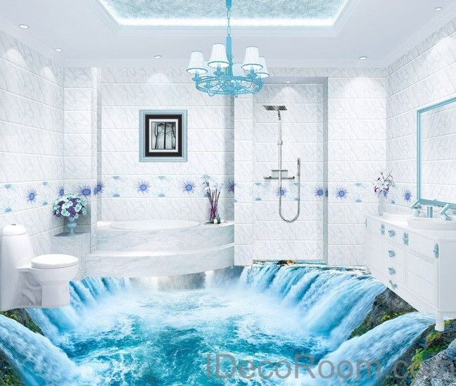 Waterfall River 00010 Floor Decals 3D Wallpaper Wall Mural ...