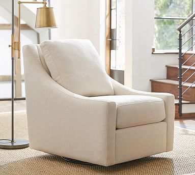 Aiden Upholstered Swivel Armchair Polyester Wrapped Cushions Sunbrella R Performance Boss Herringbone Ecru Swivel Armchair Armchair Upholstered Swivel Chairs