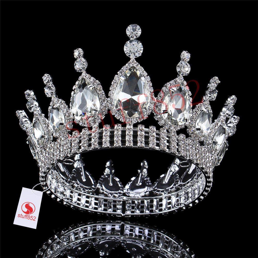 10.5cm High Large Leaf Crytal Bead Wedding Bridal Party Pageant Prom Tiara Crown