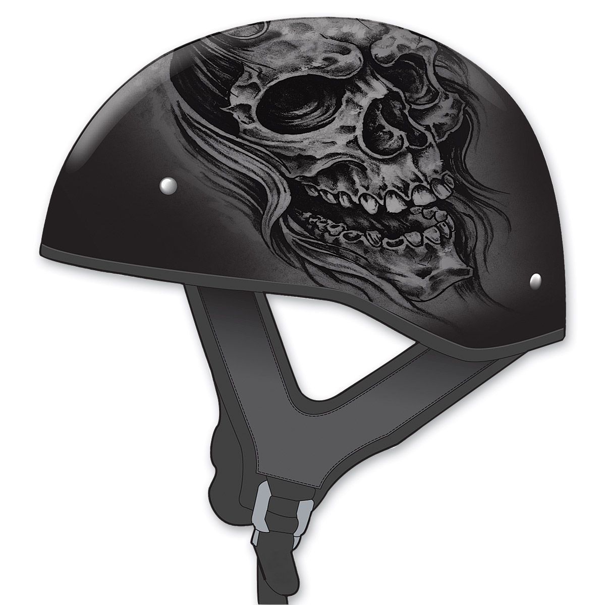Gmax gm naked ghostrip flat blacksilver half helmet