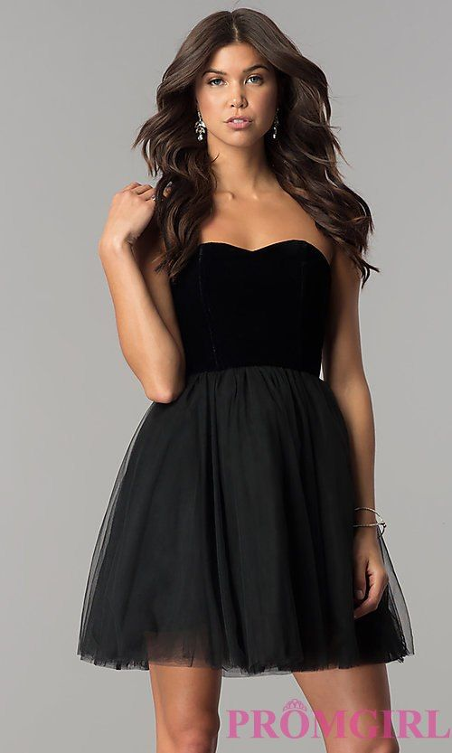 7bc60f9f861 Short Black Homecoming Dress in Velvet and Tulle in 2019 ...