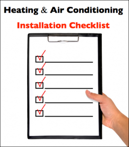 Scottsdale Heating Air Conditioning Installation Checklist