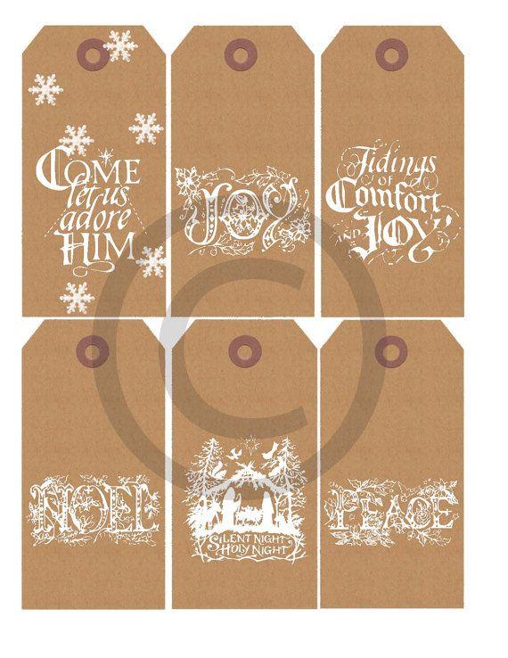 Printable Christmas Kraft Paper Christian Religious Sentiment Gift