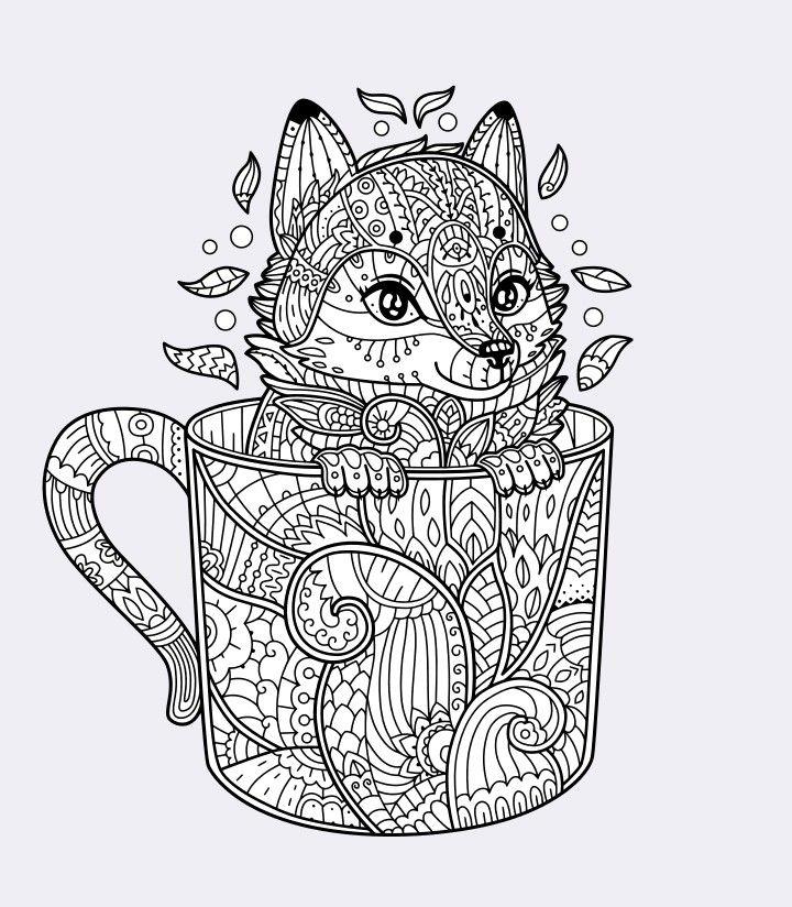 pinmiriammik on coloring  fox coloring page mandala