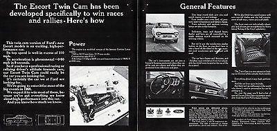 9e70645c8f Ford Escort Twin Cam Mk1 1968-69 UK Market Foldout Sales Brochure RS ...