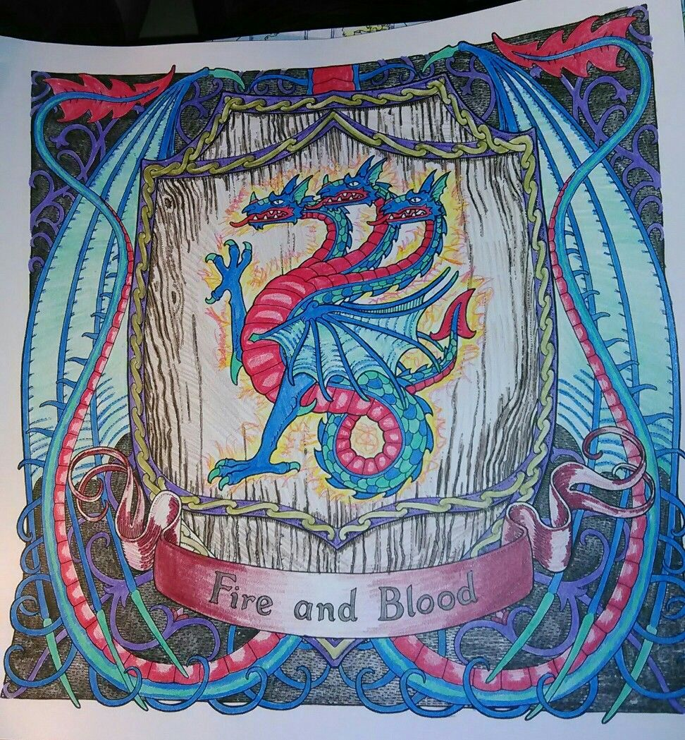My Game Of Thrones Completed Coloring Book Targaryen Sigil Fire And Blood