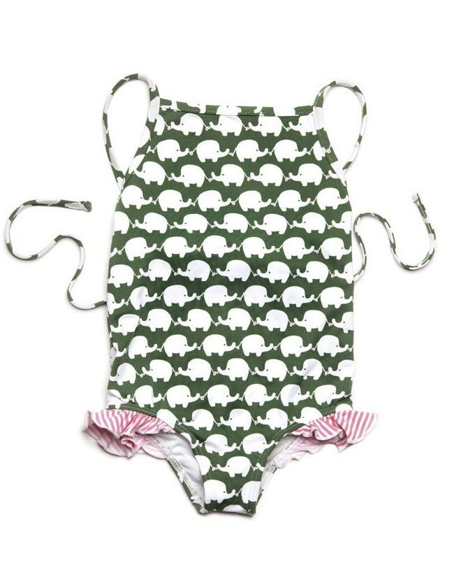 3625eb305df9c Lilo Tati Army Elephant Ruffle Swimsuit. I love this LA designer of little  girls swimwear because she is so elegant