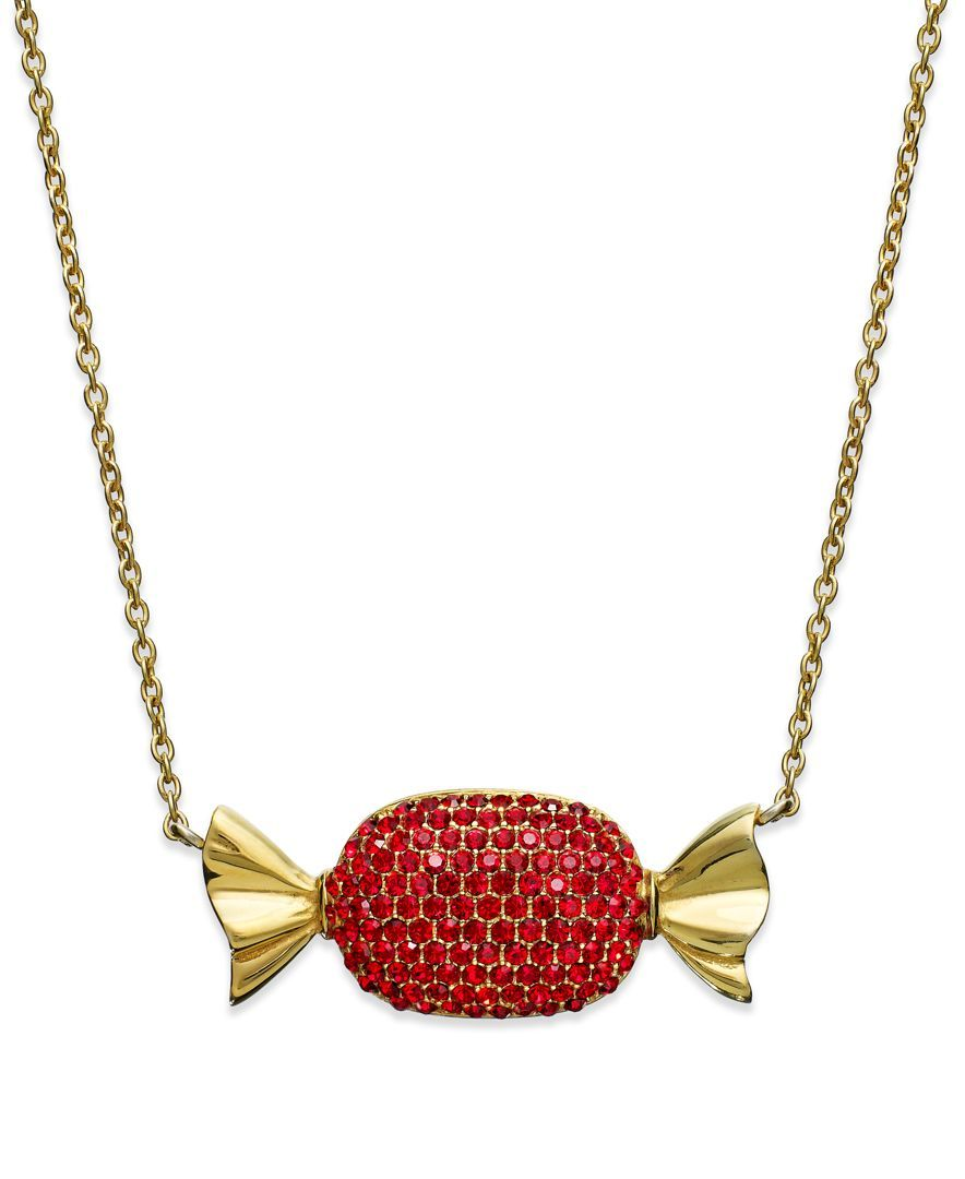 Sis by Simone I Smith 18k Gold over Sterling Silver Necklace, Red Crystal Candy Pendant
