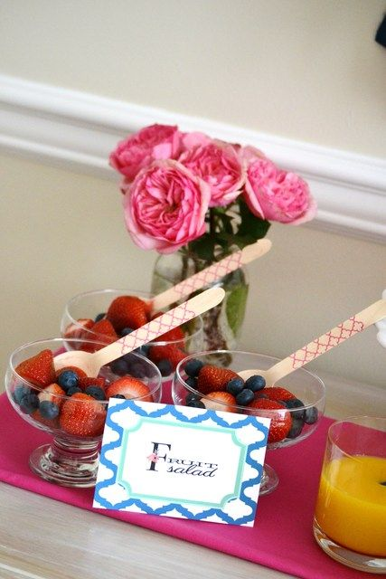 Fruit salad at a Mother's Day Party!  See more party ideas at CatchMyParty.com