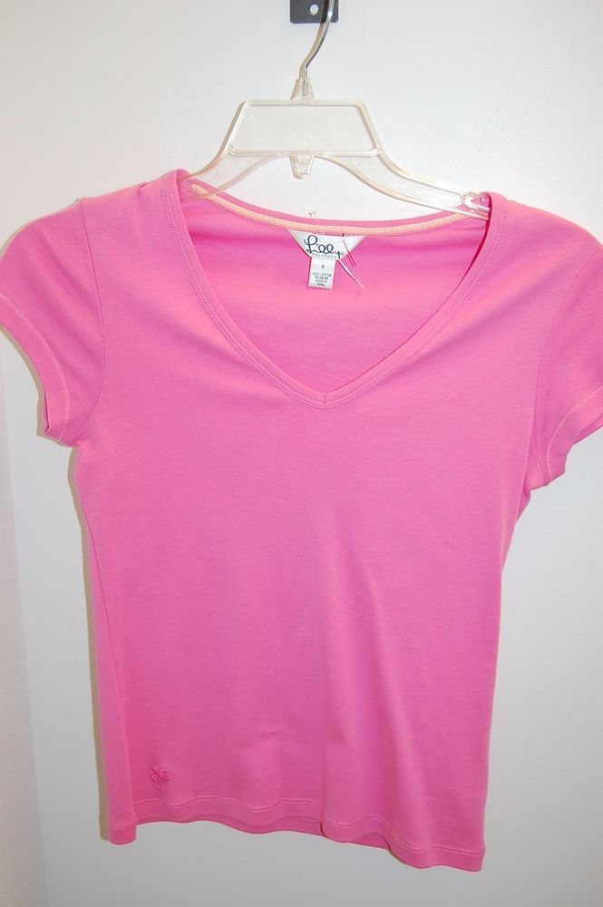 LILLY PULITZER Pink Cap Sleeve Cotton V Neck Top Sz S #LillyPulitzer #Top