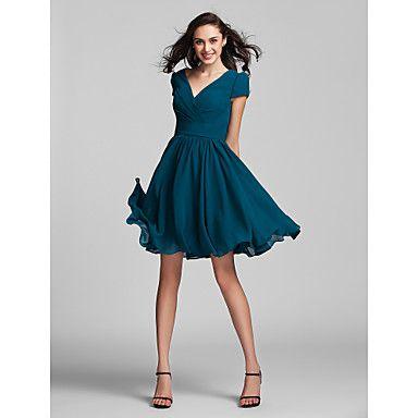 A-Line V-neck Knee Length Georgette Bridesmaid Dress with Sash ...