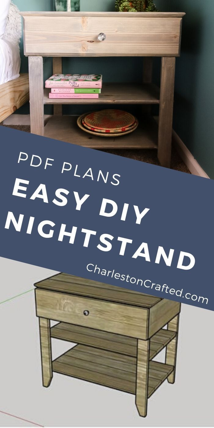 Wooden Nightstand Bedside Table With Drawer Printable Pdf Woodworking Plans In 2020 Diy Nightstand Wooden Nightstand Wooden Bedside Table