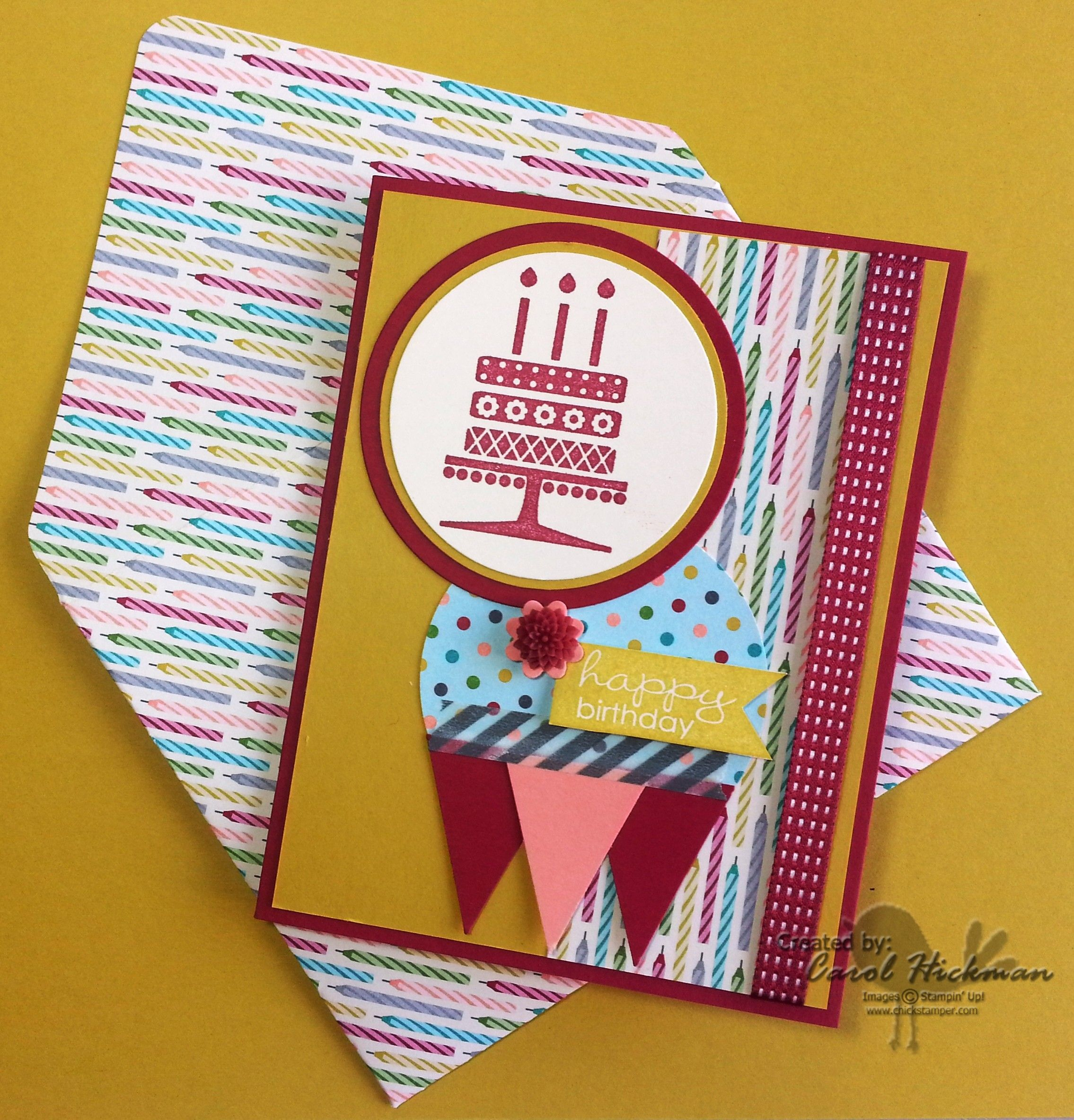 STAMPIN' UP! CHICKSTAMPER--EMBELLISHED EVENTS & BANNER GREETINGS 'HAPPY BIRTHDAY' WITH COORDINATING ENVELOPE!! Envelope Punch Board, Circle Framelits. Click on picture for supplies & dimensions! :)