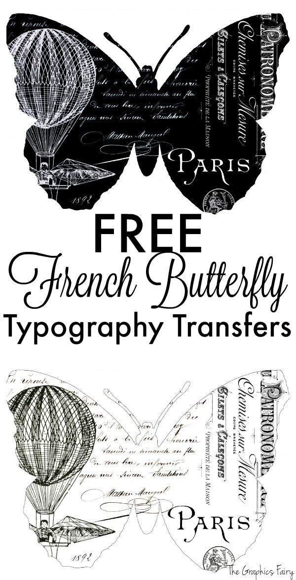 Fabulous French Butterfly Typography Transfers! | Graphics ...