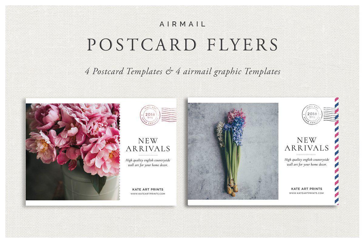 Airmail Postcard Flyers Flyer Templates Creative