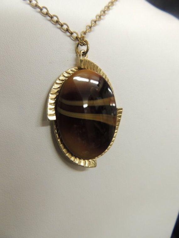 Vintage Sarah Cov Coventry Pendant Necklace Gold by TimeWarpLLC, $9.00