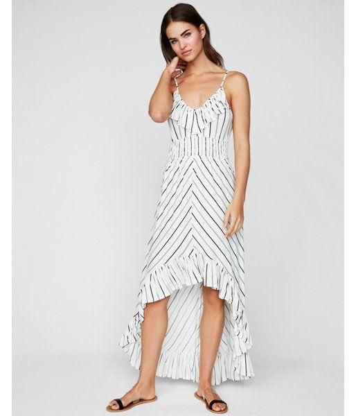 665cef2f454 Petite Striped Ruffle Smocked Waist Maxi Dress White Women s XXS Petite