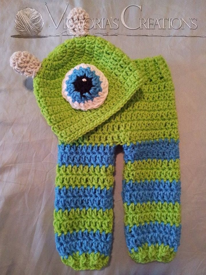 Crochet monster hat and pants    https://www.facebook.com/TiffanyVictoriasCreations   **All items are handmade by me in a pet and smoke free environment. Every stitch is made with love. All items should be gently hand washed**