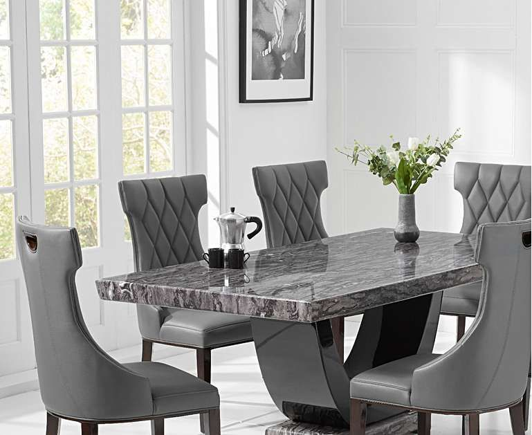 Raphael 200cm Dark Grey Pedestal Marble Dining Table With Freya