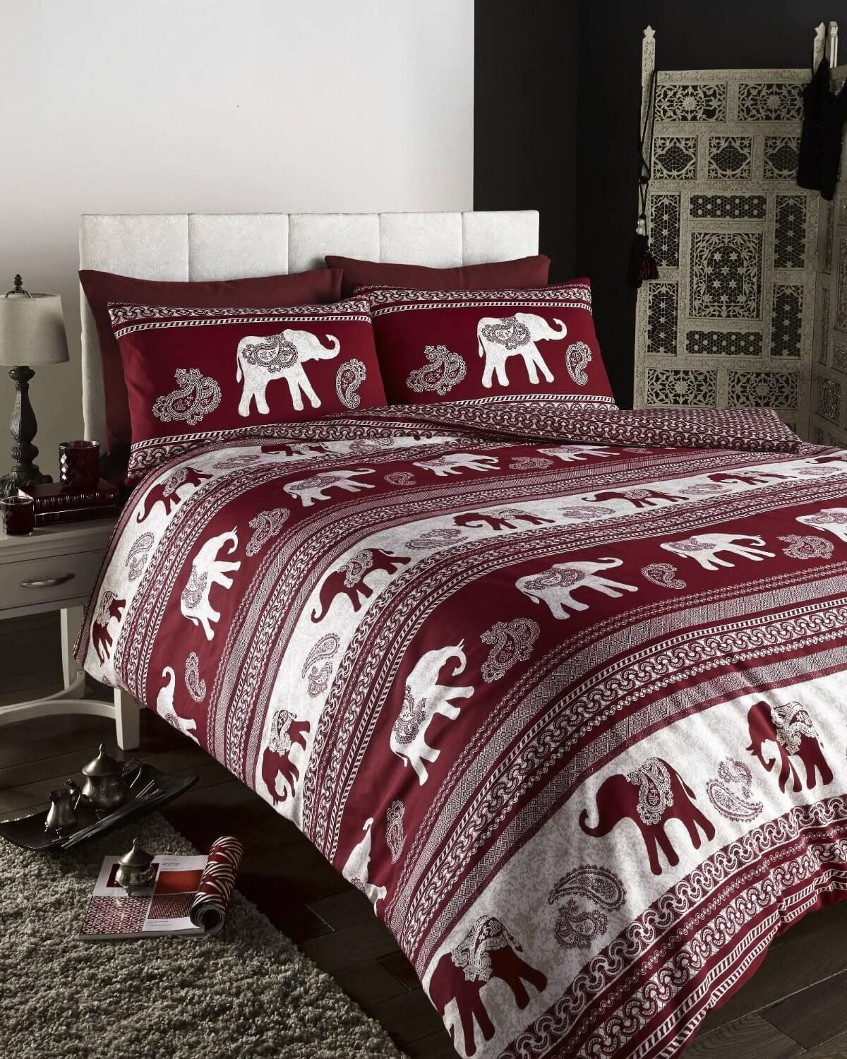 Our elephant printed beddings are covered with gorgeous indian