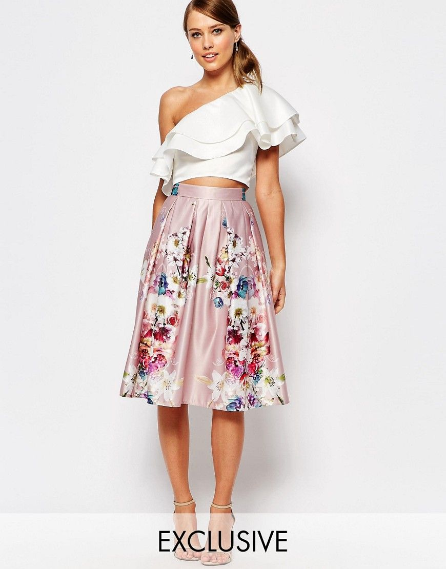 9833b1a18c Image 1 of True Violet Sateen Midi Skirt In Floral Print