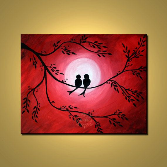 Original Abstract Fine Art Red Painting Love Birds By
