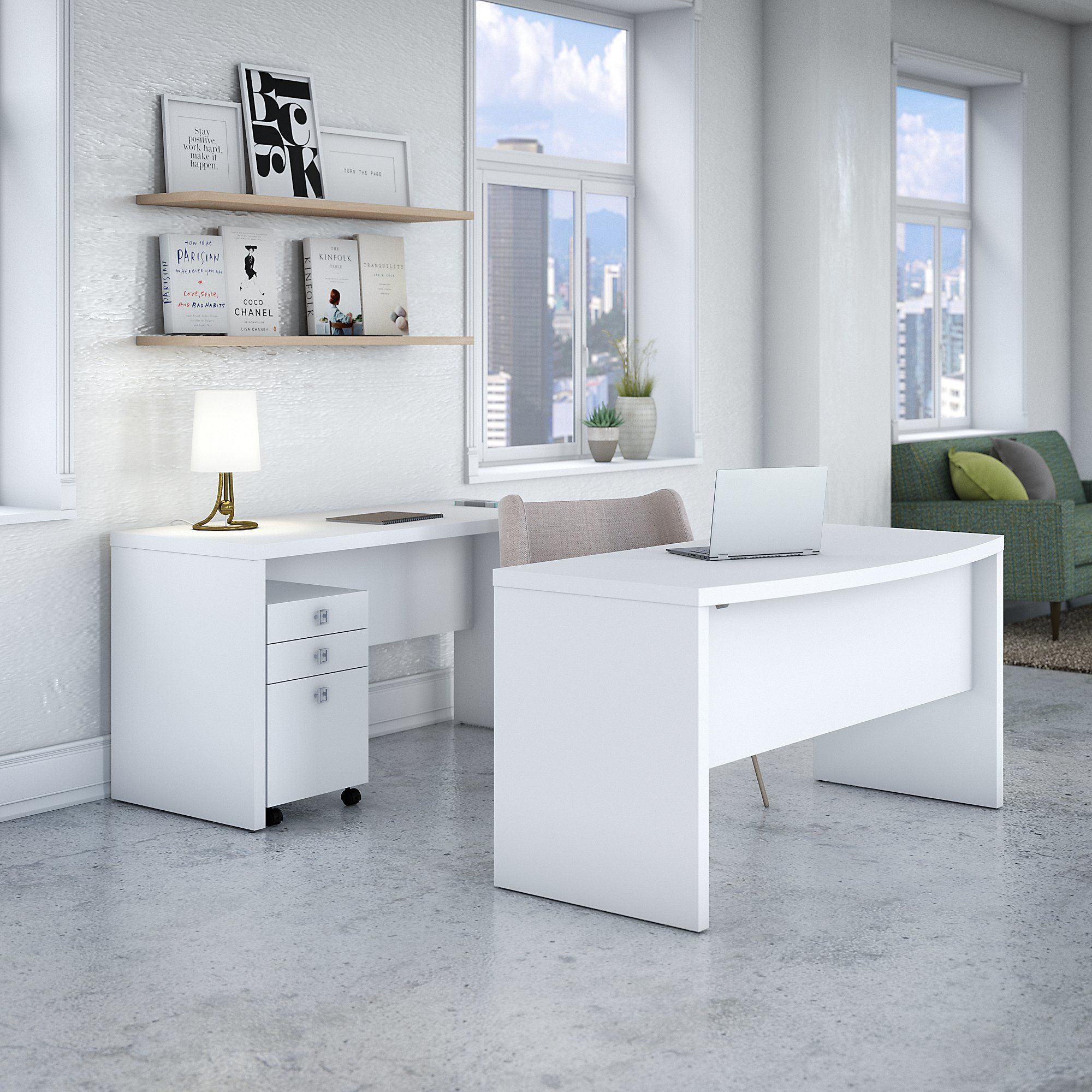 Echo Bow Front Desk and Credenza with Mobile File from