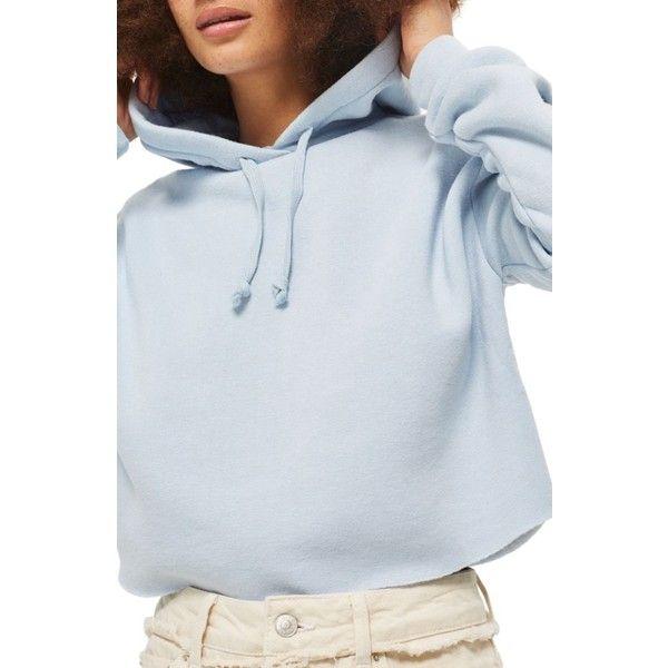 893e4399 Women's Topshop Crop Hoodie ($45) ❤ liked on Polyvore featuring tops,  hoodies, light blue, petite, light blue hoodie, fleece pullover hoodie,  sweatshirt ...