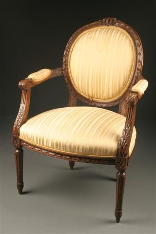 19th Century French Louis XVI Hand Carved French Armchair, Circa 1890.  #antique #