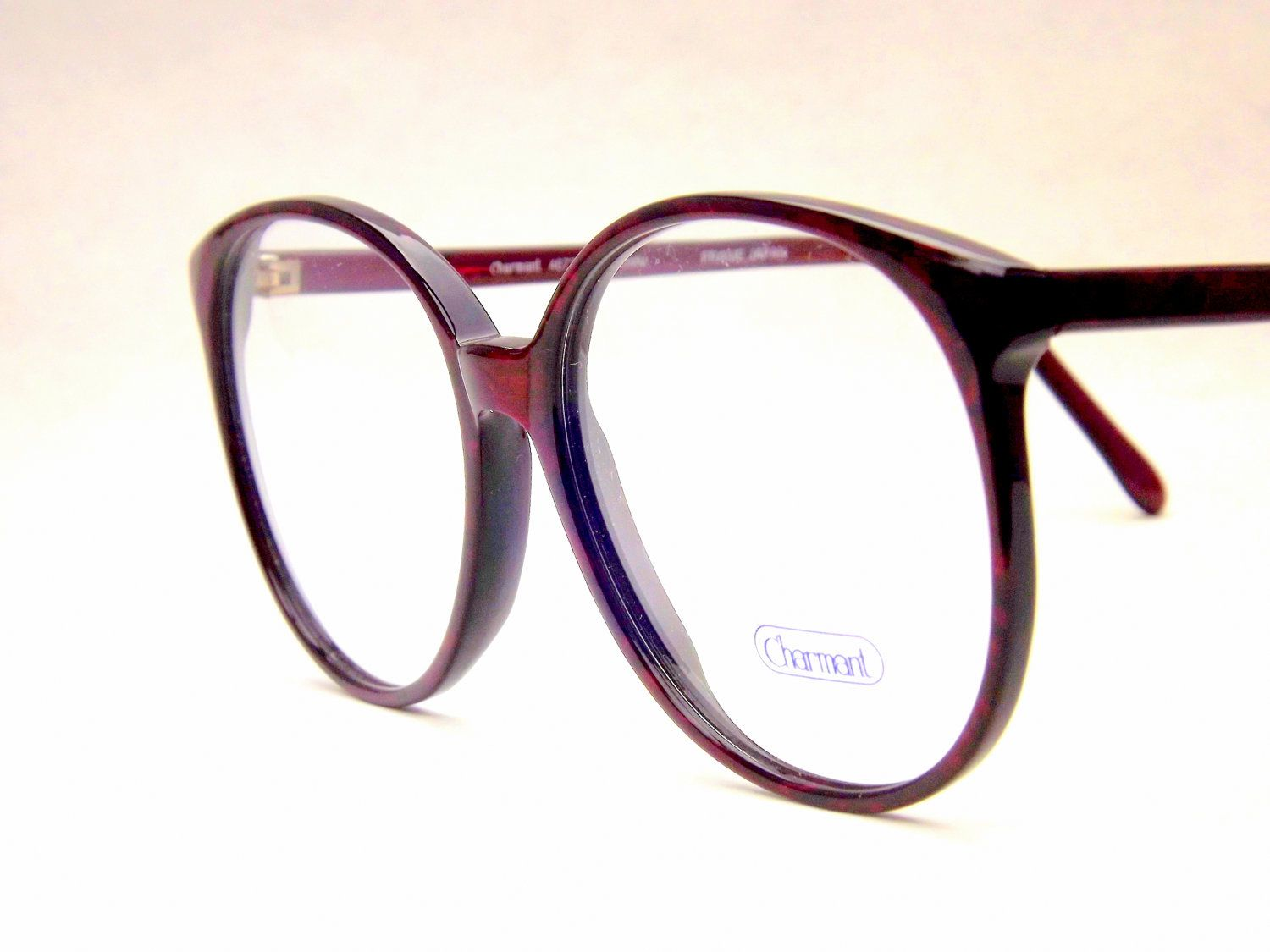 584d17d4ed Big Preppy Burgundy Wine Eyeglasses - Vintage Eyewear - Womens Round 80s  Vintage New Old Stock Frames.