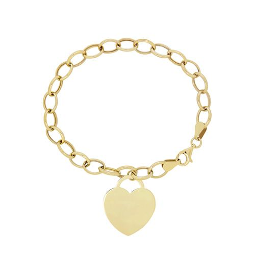 Online Exclusive! This fabulous 7 1/2 inch link bracelet features a lovely heart charm on large links in polished 10 karat yellow gold with a lobster claw clasp. She will love the gift of this stylish charm bracelet and it will become a forever favorite!