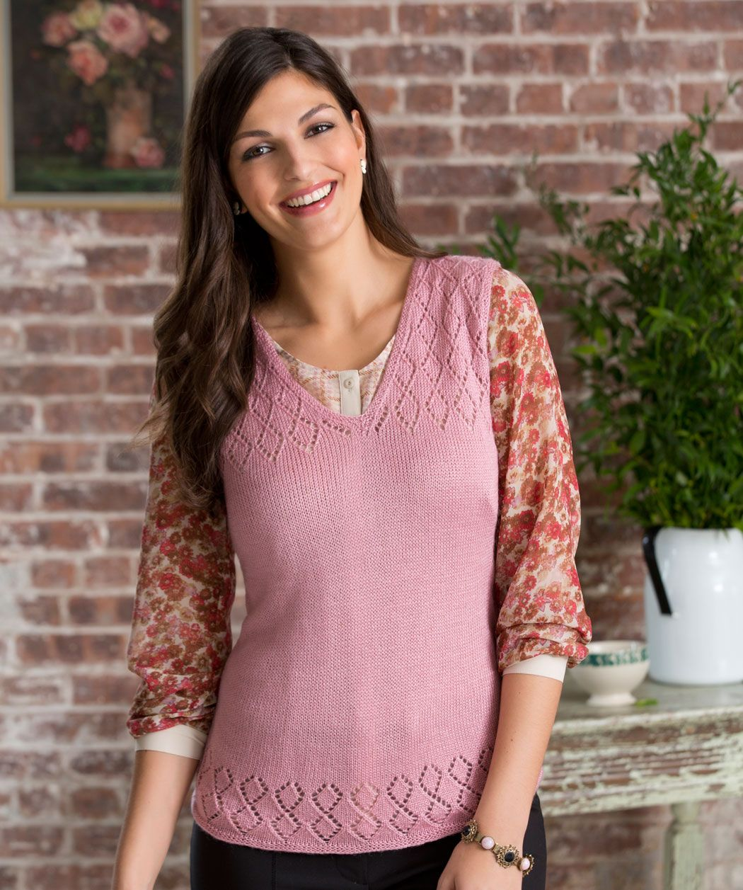 Dress up your outfit with a lovely knit vest! The diamond lace ...