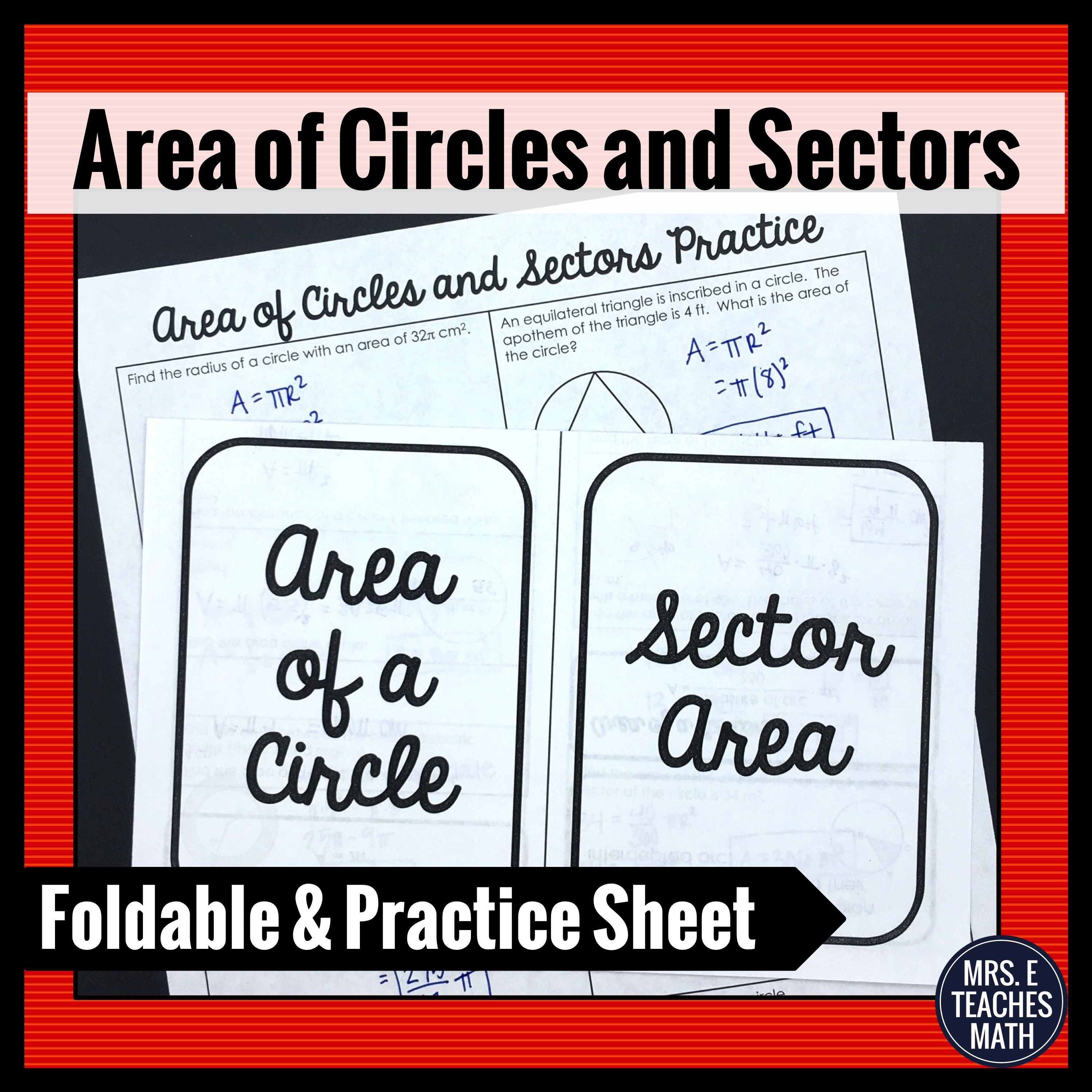 Area Of Circles And Sectors Foldable For Geometry