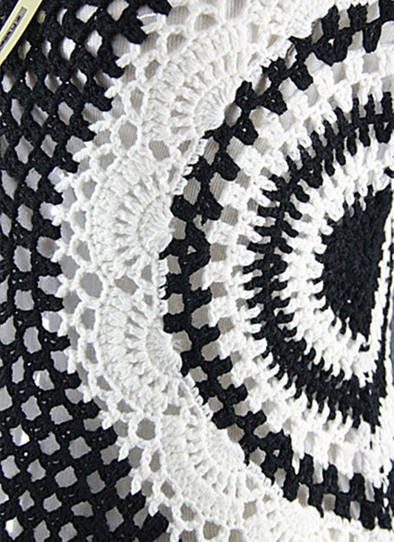 Black and White Crochet Women Blouse Short Sleeve | tunık ...