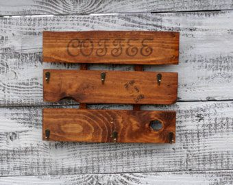 Coffee Sign Coffee Mug Rack Kitchen Sign Coffee By TheWoodenOwl