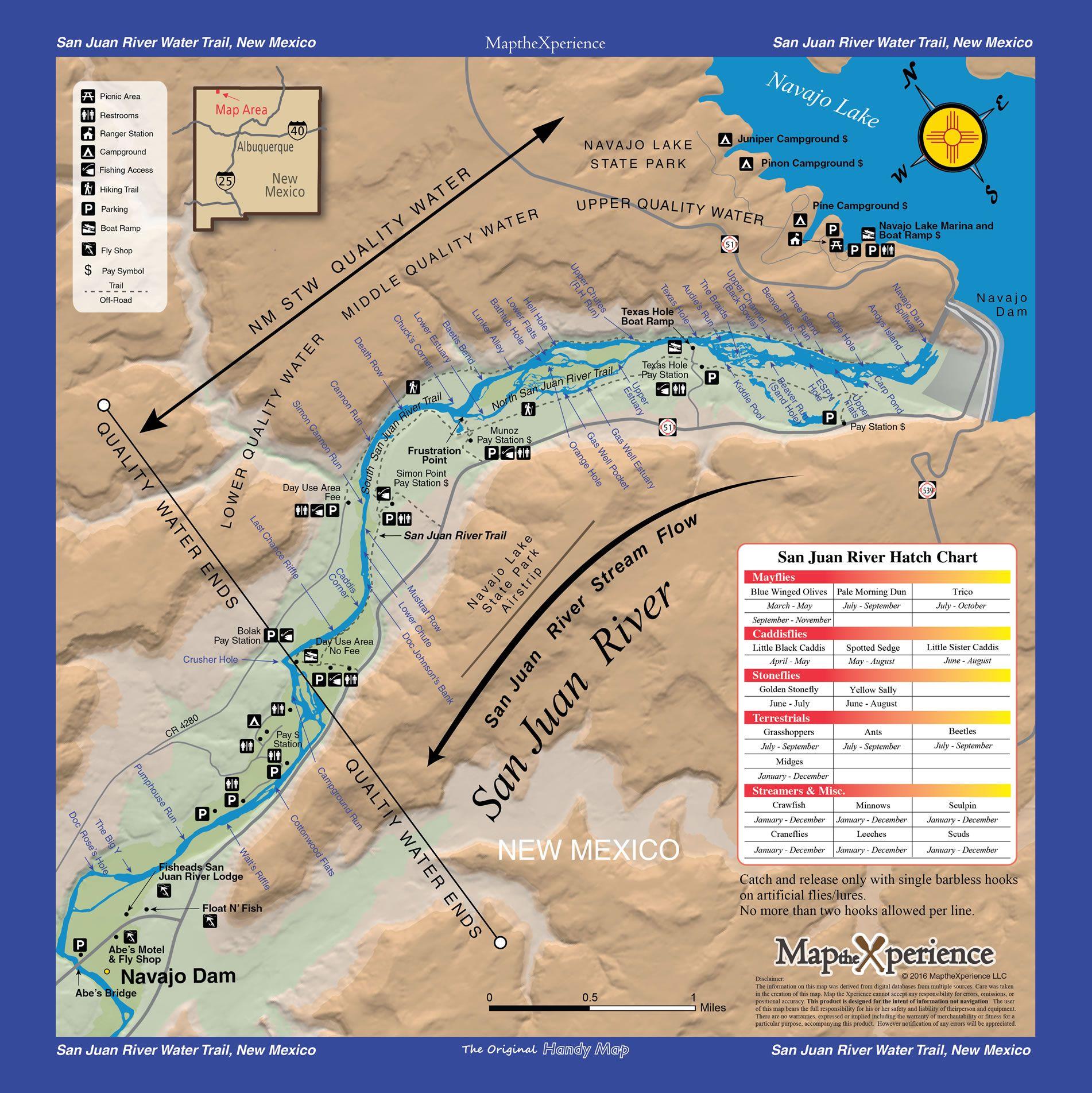 San Juan River Digital Gps Mobile Fishing Map Navajo Reservoir To Navajo Dam New Mexico Fishing Maps Lake Water New Mexico