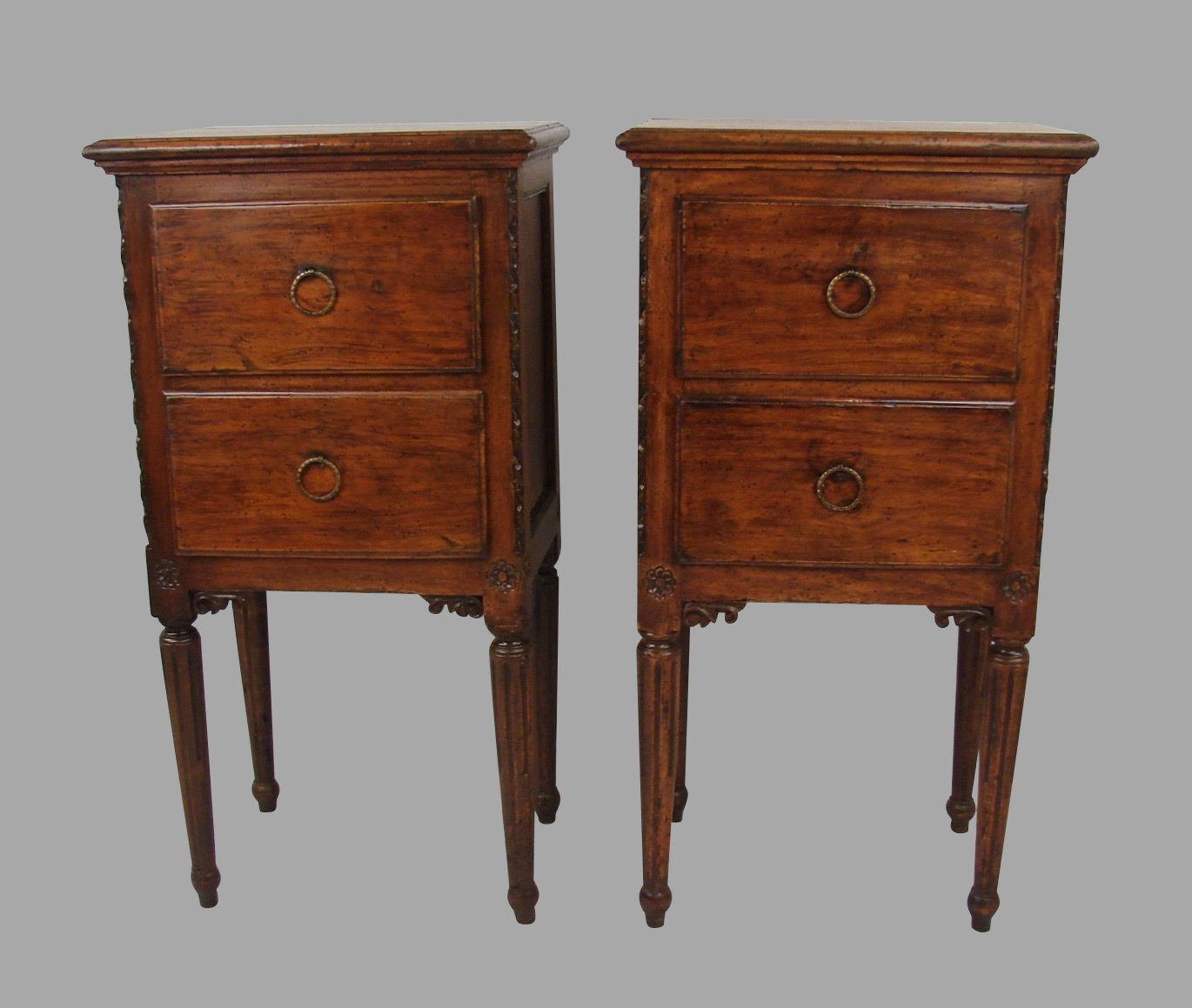 A Pair Of Italian Provincial Walnut Neoclassical Bedside Commodes