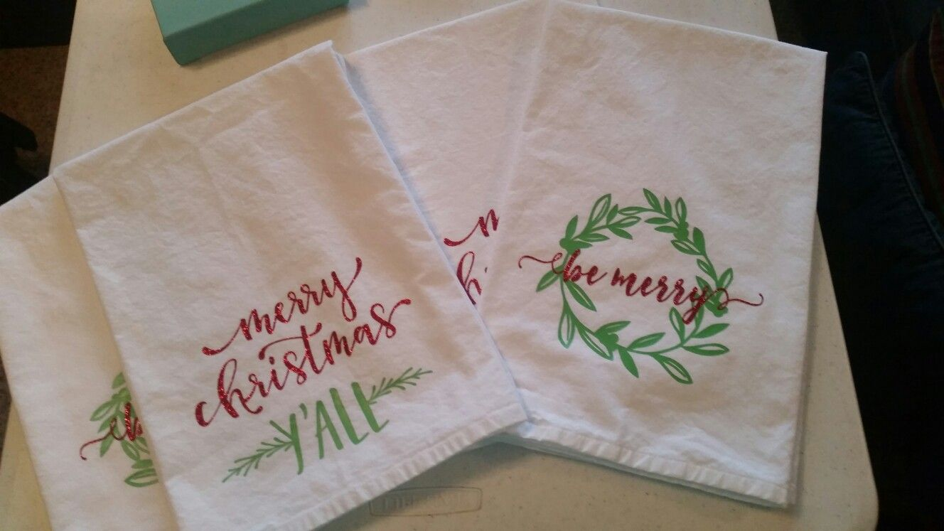 Cotton Flour Sack Towels with heat transfer vinyl   I made that one