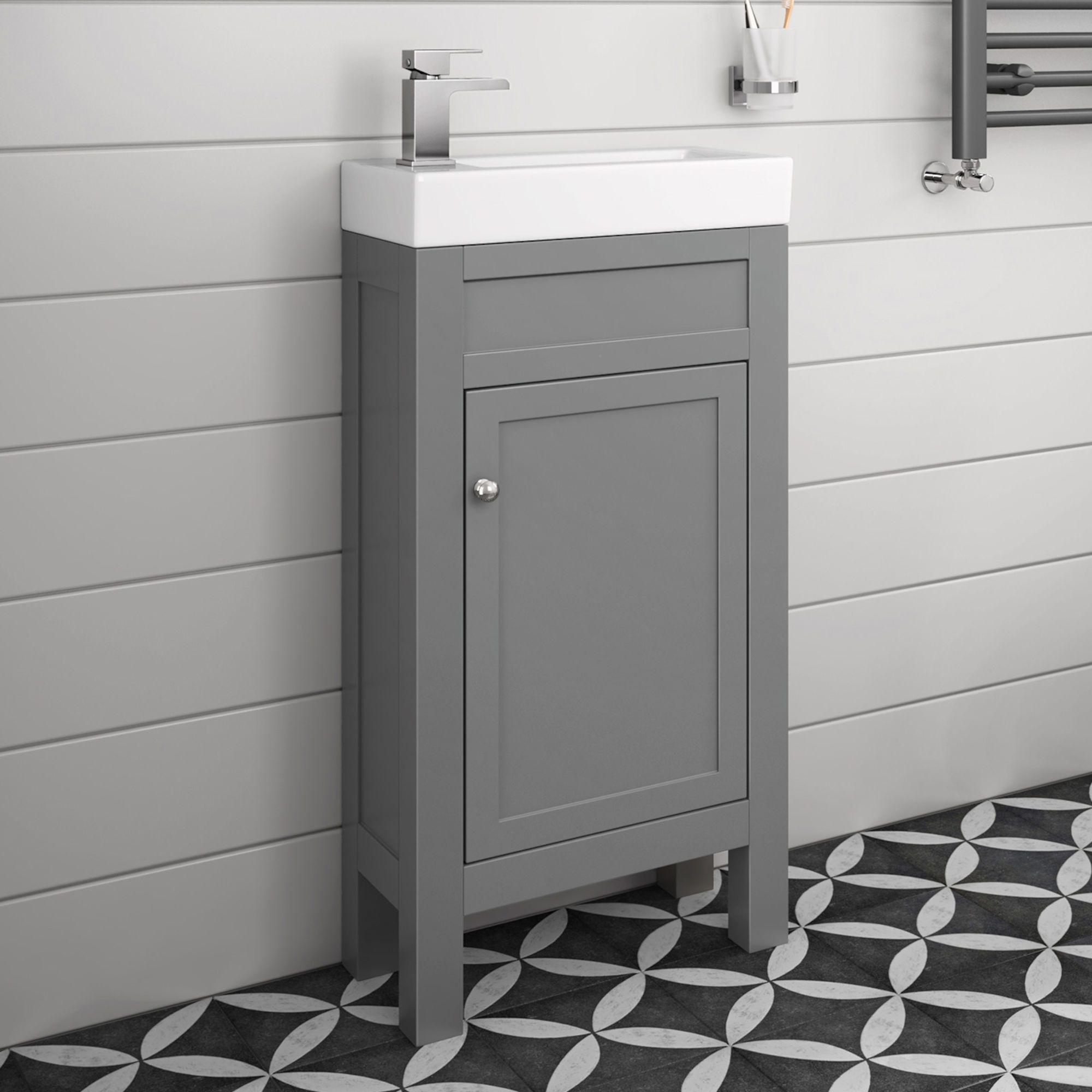 Grey Slimline Sink Vanity Unit Small Bathroom Storage Soak Com Cloakroom Vanity Unit Bathroom Vanity Units Small Bathroom Sinks