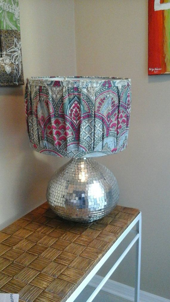 Large Soft Pleated Boho Lamp Shade With Silk Screen Indian Fabric From New  Delhi