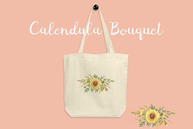 Calendula Flower Bouquet Canvas Tote Bag Canvas Tote Bags Etsy