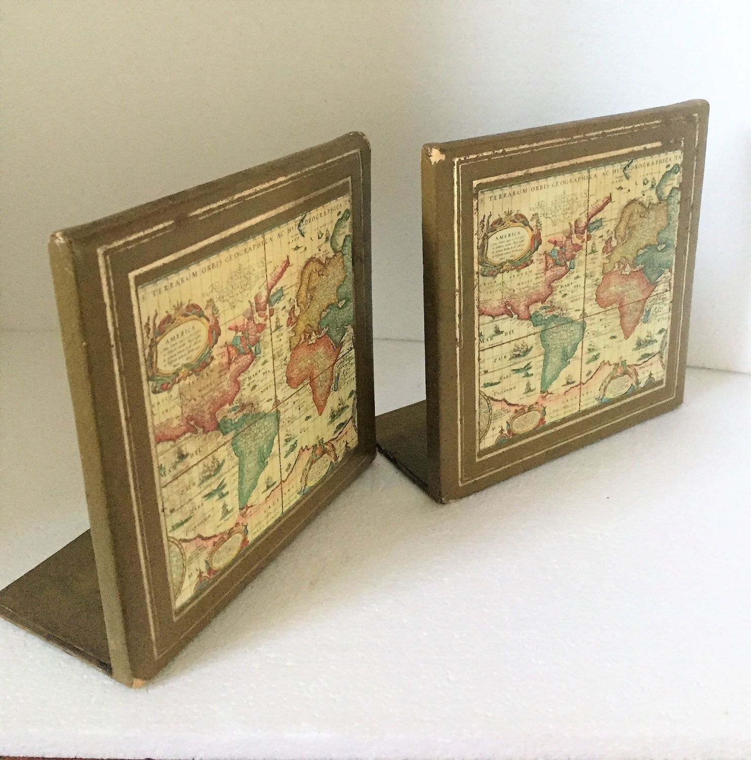 Vintage Bookends Geographical Bookends Metal And Paper Map Shelf Bookends