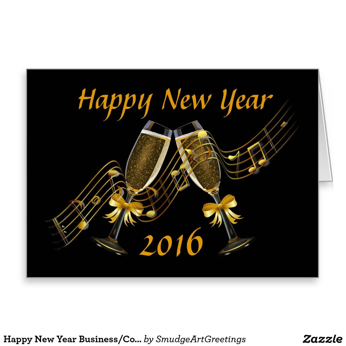 Happy New Year Business/Corporate Card Black/Gold Happy