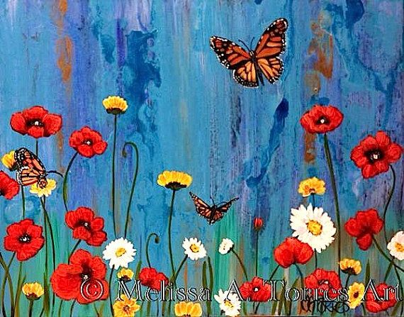 Flowers And Butterflies Acrylic Painting By Melissaatorresart