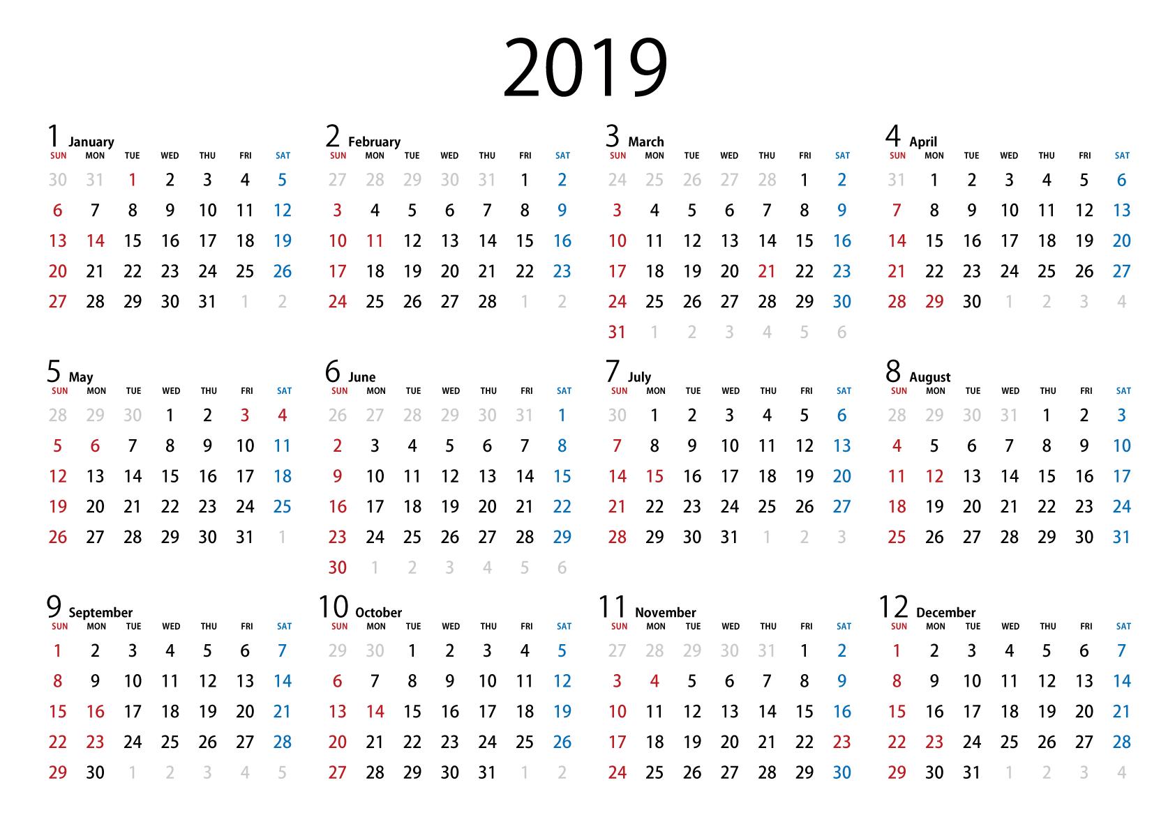カレンダー フリー