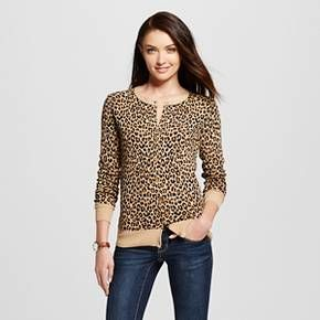 Women's Favorite Cardigan Long Sleeve Animal Print Brown XXL ...