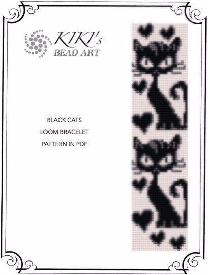 Bead loom pattern Black cats LOOM bracelet par