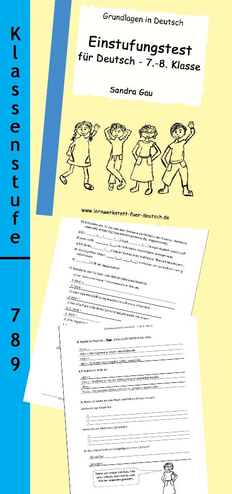 Einstufungstest Fur Deutsch 7 8 Klasse Unterrichtsmaterial Im Fach Deutsch Deutsch Unterricht Lernen Erste Klasse