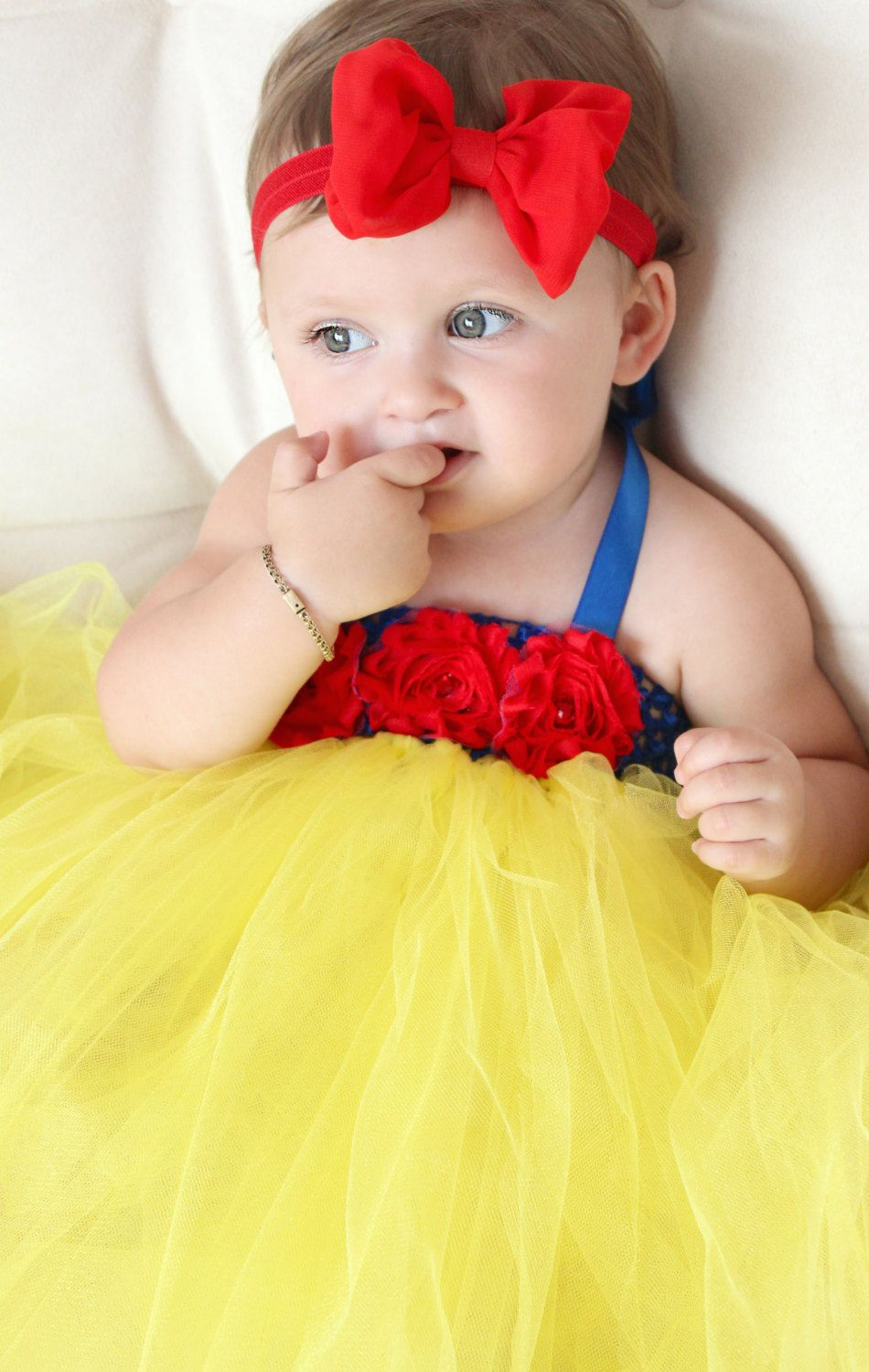 Beautiful Snow White Tutu Dress Costume with Red Hair Bow for Baby ...