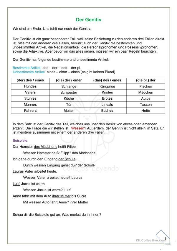 Der Genitiv Erklärungen und Übungen   german   Pinterest   German